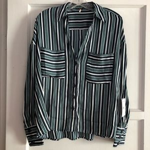 Free People striped button up blouse S New